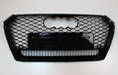 Решетка радиатора Ауди A4 B9 RS4, черная + квадро