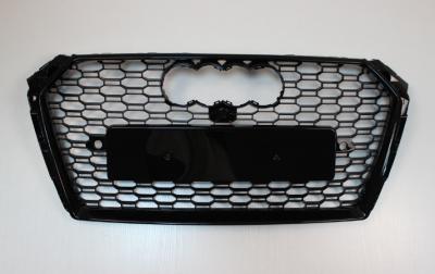 Решетка радиатора Ауди A4 B9 RS4, черная глянцевая