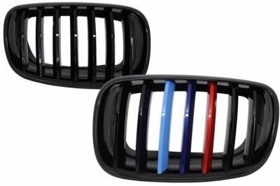 Решетка радиатора на BMW X5 F15 черная глянцевая (триколор)