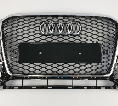 Решетка радиатора Ауди Q5 RSQ5, черная + хром рамка (2012-2016)
