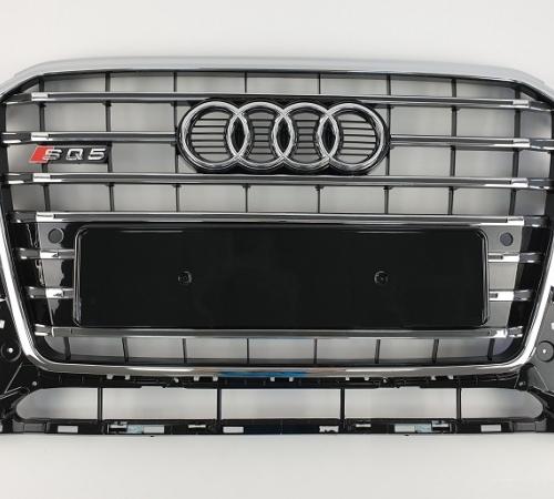 Решетка радиатора Ауди Q5 SQ5, черная + хром (2012-2016)