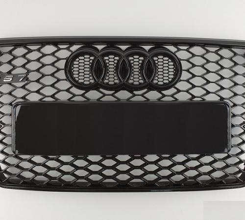 Решетка радиатора Ауди A7 G4 RS7, черная глянцевая (2010-2014)