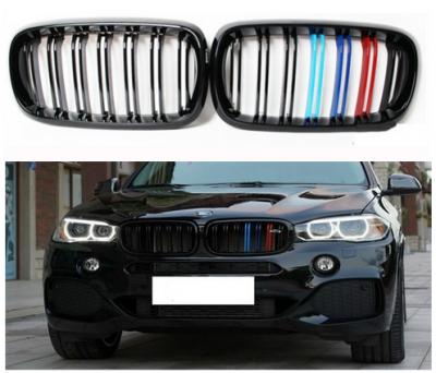 Решетка радиатора на BMW X5 F15 М черная глянцевая (триколор)