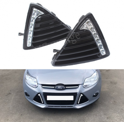 Рамки противотуманок Ford Focus MK3 с DRL и функцией поворота