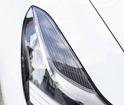 Реснички (бровки) на фары Tesla Model 3, под карбон