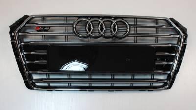 Решетка радиатора Ауди A4 B9 S4, черная + хром