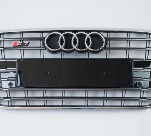 Решетка радиатора Ауди A7 G4 S7, хром рамка + хром вставки (2014-2017)