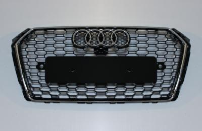 Решетка радиатора Ауди A4 B9 RS4, черная + хром рамка