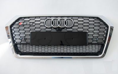 Решетка радиатора Audi Q5 RSQ5 черная + хром рамка (2017-...)