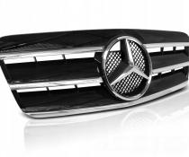 Решетка радиатора MERCEDES CLK W208 в стиле CL черная с хром полосками