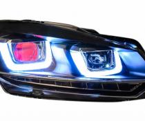 .Оптика передняя, фары на Volkswagen Golf 6 с красной линзой